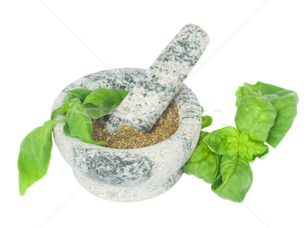 mortar with powdered basil Stock photo © neirfy