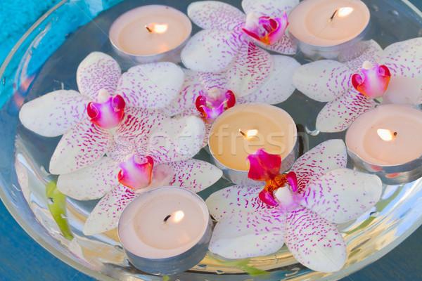 Stockfoto: Brandend · kaarsen · roze · orchidee · bloemen · spa