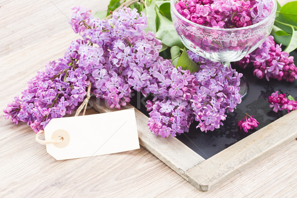 сирень таблице пусто тег цветы Пасху Сток-фото © neirfy