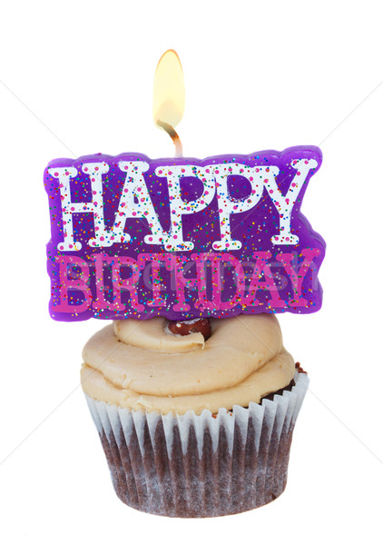 cupcake with candle happy birthday Stock photo © neirfy