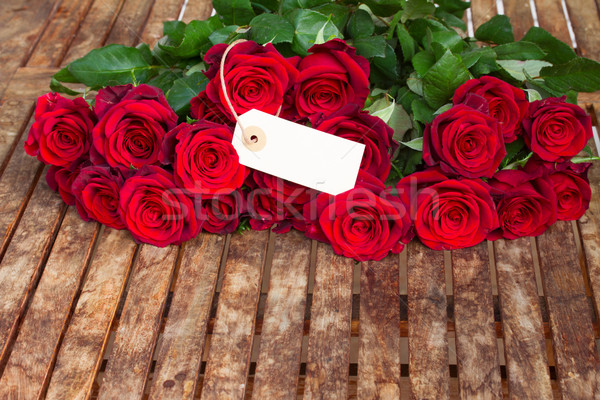 dark red roses  and tag Stock photo © neirfy