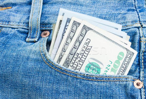 Stock fotó: Dollár · pénz · zseb · köteg · 100 · dollár · bankjegyek