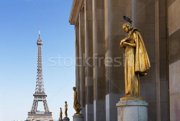 Eiffel turné kert randizás 1930-as évek Párizs Stock fotó © neirfy