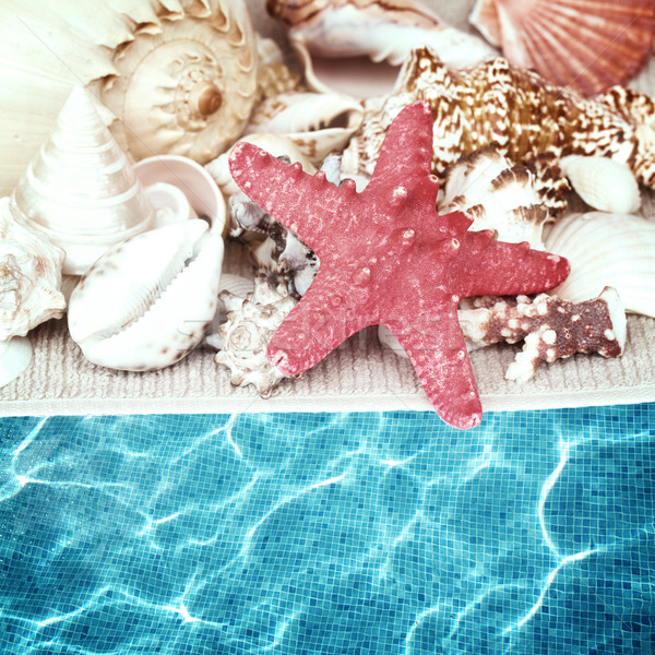Starfish frontière serviette piscine eau Photo stock © neirfy