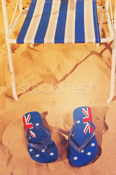 Foto stock: Sandálias · verão · praia · azul · arenoso