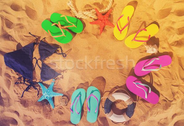 Nyár tengerpart jókedv keret homok színes Stock fotó © neirfy