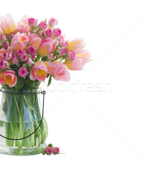 Ramo tulipanes rosas frescos rosa amarillo Foto stock © neirfy