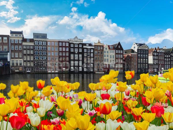 Häuser Niederlande charakteristisch alten Kanal Stock foto © neirfy