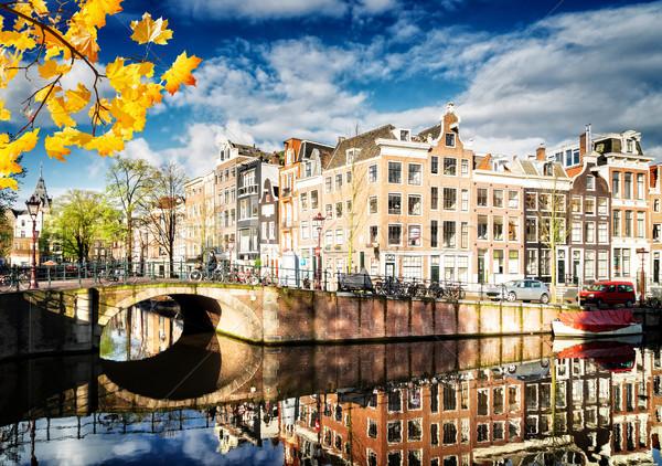 Huizen Nederland oude vallen kanaal spiegel Stockfoto © neirfy