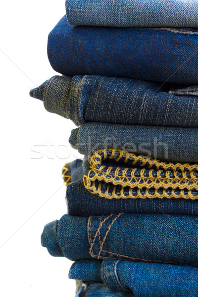 pile of blue jeans close up Stock photo © neirfy