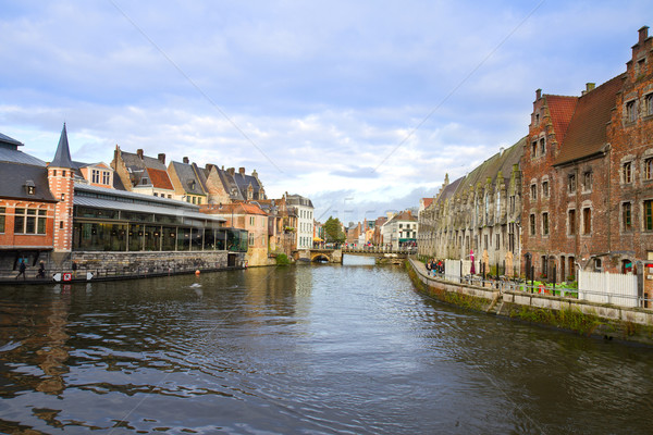 Canal And Old Buildings, Ghent Stock photo © neirfy