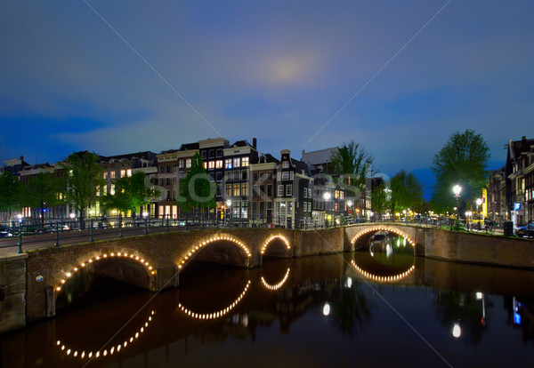 Nacht Amsterdam holland Altstadt Business Haus Stock foto © neirfy