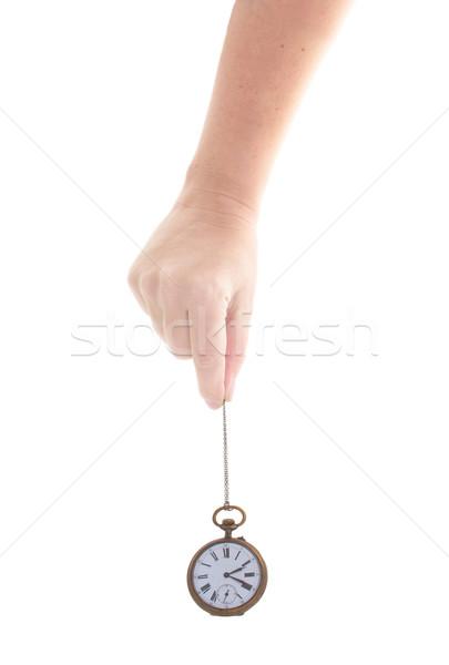 Tempo mão antigo relógio isolado Foto stock © neirfy