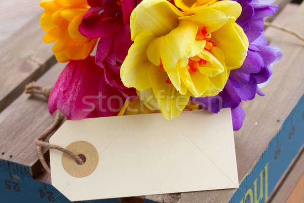 spring flowers posy with blank tag Stock photo © neirfy