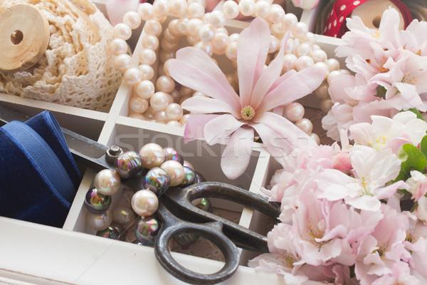 Bordado vintage fresco flores pérolas Foto stock © neirfy