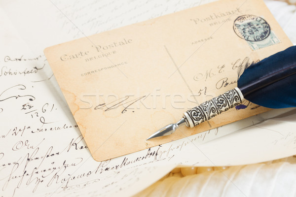 old postcard with feather pen  Stock photo © neirfy