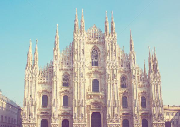 大聖堂 ミラノ イタリア 教会 レトロな 青 ストックフォト © neirfy