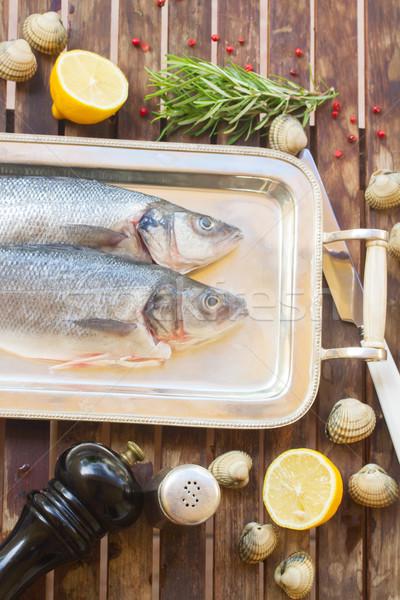 ストックフォト: 生 · 魚 · フレーム · セット · 食品