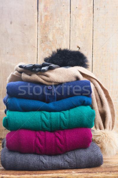 Set Wolle Kleidung gefaltet fallen Stock foto © neirfy