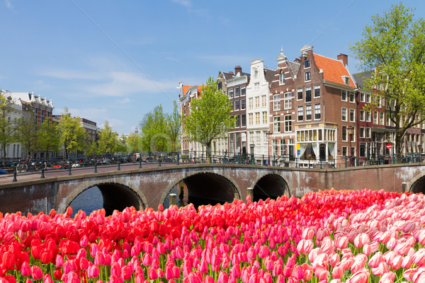 Puentes canal anillo Amsterdam soleado primavera Foto stock © neirfy