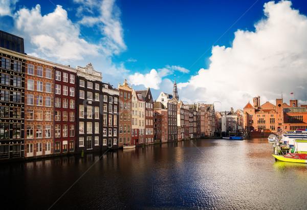 Huizen Nederland typisch nederlands oude kanaal Stockfoto © neirfy