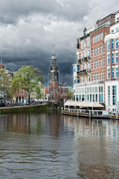 Turm Amsterdam Niederlande Zentrum dramatischen Himmel Stock foto © neirfy