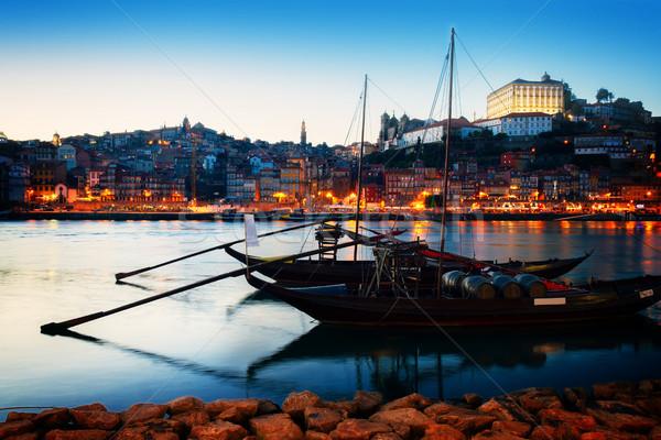 Portogallo città vecchia fiume tradizionale porta Foto d'archivio © neirfy