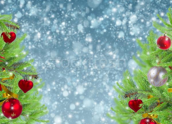 Christmas frame sneeuw ingericht hemel Stockfoto © neirfy