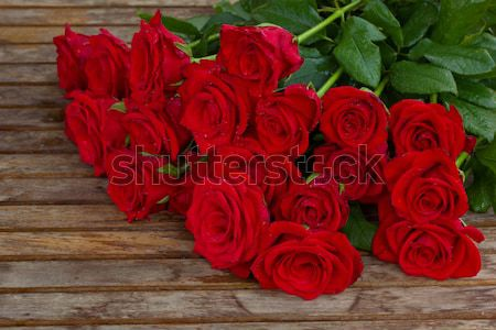 bouquet of beautiful  red roses with water drops Stock photo © neirfy