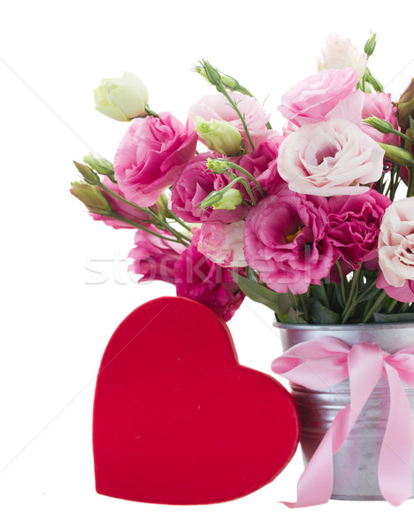 Eustoma flowers with red gift  box Stock photo © neirfy