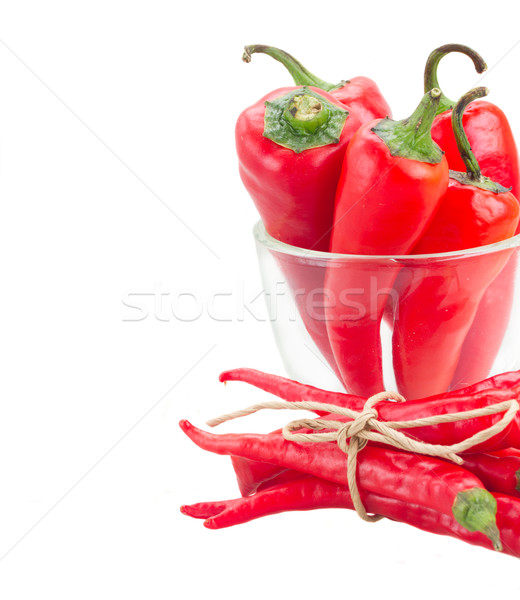 Stock photo: red chili peppers in glass bowl