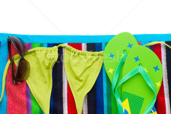 sandals ans swimming suit on towel Stock photo © neirfy