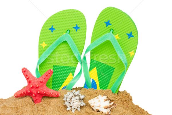 Blauw sandalen zeester zand paar geïsoleerd Stockfoto © neirfy