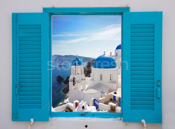 window with view of caldera  and church, Santorini Stock photo © neirfy