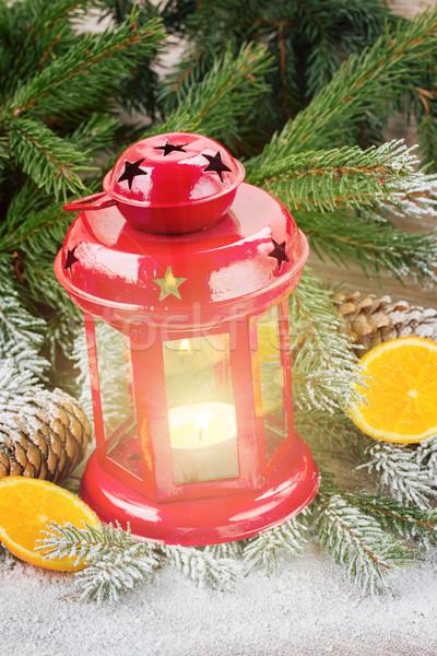 Рождества фонарь красный вечнозеленый дерево Сток-фото © neirfy