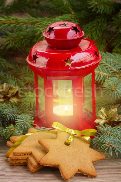 Рождества фонарь красный пряничный Cookies Сток-фото © neirfy