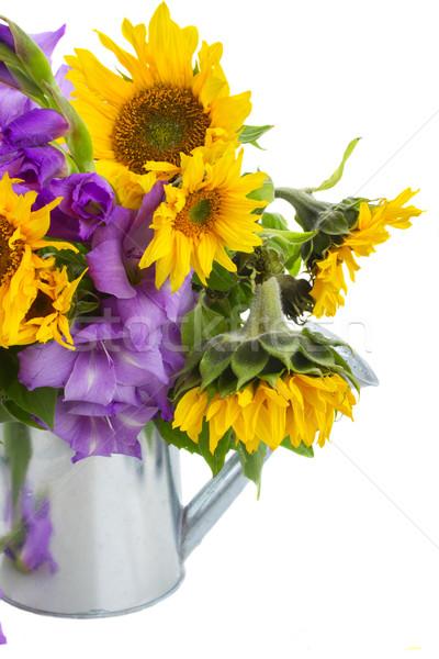 Stock fotó: Virágcsokor · fényes · napraforgók · edény · izolált · nap