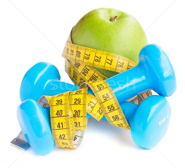 Egészséges életmód alma súlyzók mérőszalag izolált fehér Stock fotó © neirfy