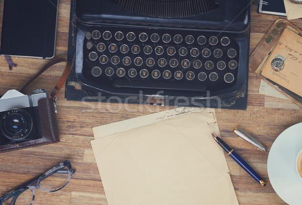 タイプライター 表 黒 ヴィンテージ 木製のテーブル ストックフォト © neirfy