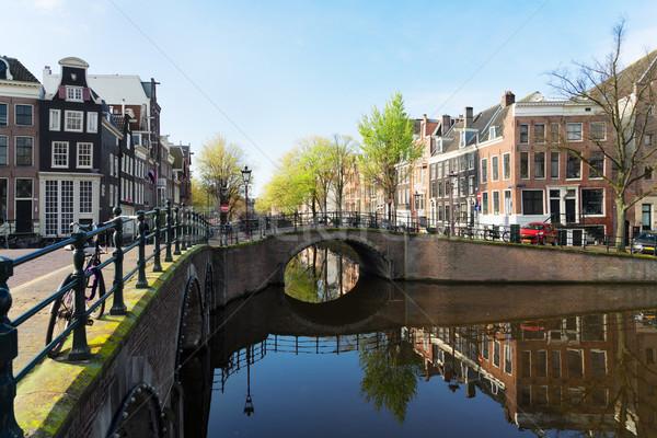 Evler Amsterdam Hollanda köprü kanal ayna Stok fotoğraf © neirfy