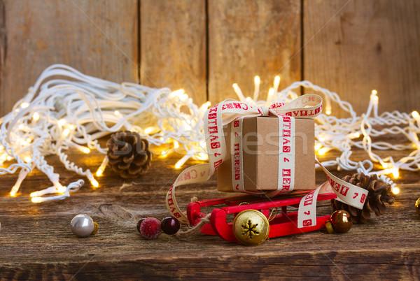 El yapımı hediye kutuları bir hediye kutusu kızak Noel Stok fotoğraf © neirfy