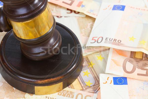 Legge martelletto euro soldi legno Foto d'archivio © neirfy
