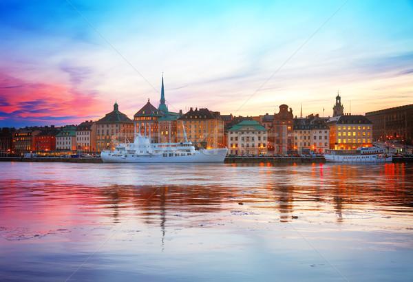 Skyline Stockholm Zweden kleurrijk zonsondergang landschap Stockfoto © neirfy
