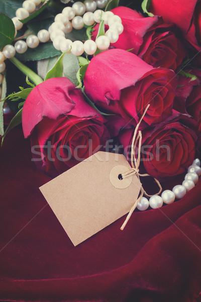 赤いバラ ベルベット 新鮮な 宝石 空っぽ タグ ストックフォト © neirfy