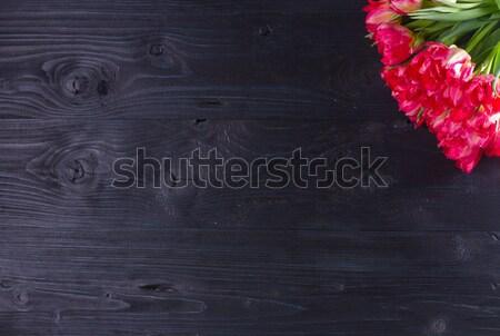 Różowy tulipany czarny bukiet jasne Zdjęcia stock © neirfy