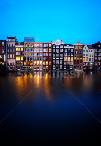 Stockfoto: Huizen · Amsterdam · Nederland · kanaal · verlicht