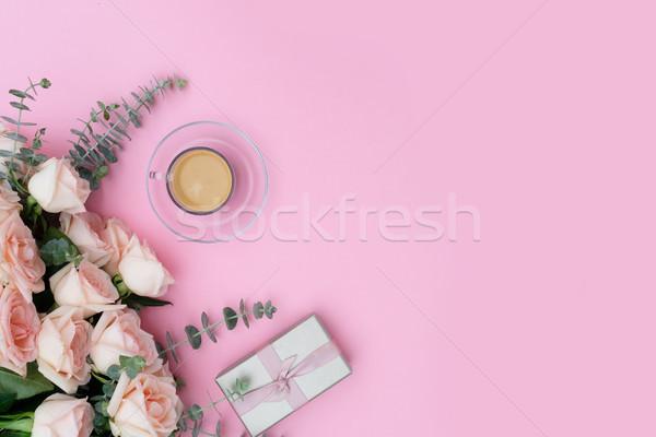 Desktop scène ochtend beker koffie geschenk Stockfoto © neirfy