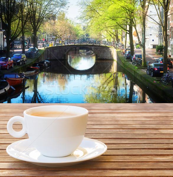 Beker koffie Amsterdam Nederland huis Stockfoto © neirfy
