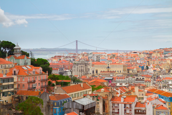 スカイライン リスボン ポルトガル 旧市街 市 背景 ストックフォト © neirfy