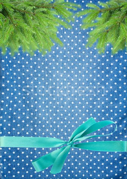 Karácsony fenyőfa íj természet terv keret Stock fotó © neirfy